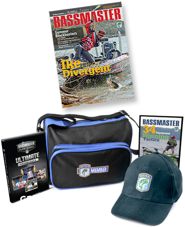 Bassmaster magazine, Bassmaster Elite Series Ultimate Techniques, baseball cap, Bassmaster 34 Tournament Winning Tactics, B.A.S.S. tackle bag