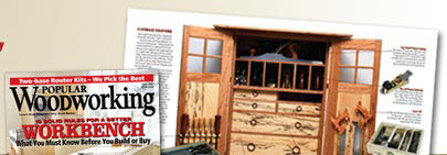 February 2005 cover and layout from Popular Woodworking